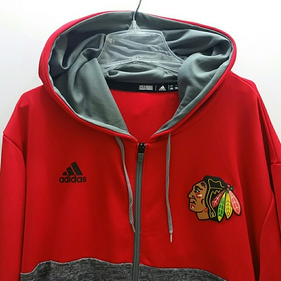 size 40 8a80b 51a99 ADIDAS CHICAGO BLACKHAWKS MEN'S FULL ZIP HOODIE